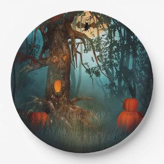 Escena asustadiza de Halloween (3) ambos tamaños Plato De Papel De 9 Pulgadas