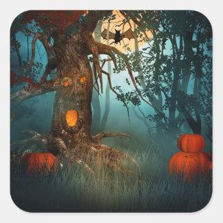 Escena asustadiza de Halloween (3) - personalizar Pegatina Cuadrada