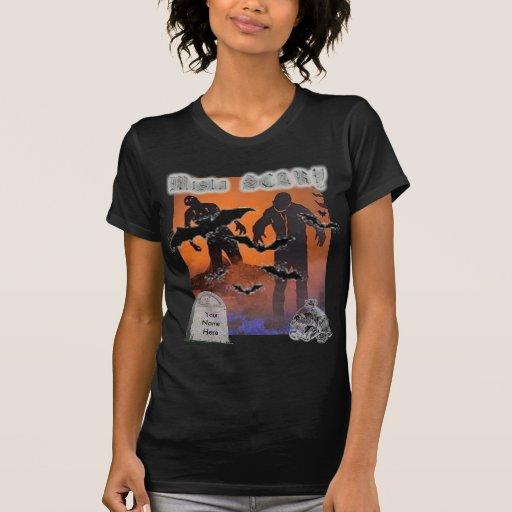 Escena asustadiza T-shi del zombi de Halloween… - Camisetas