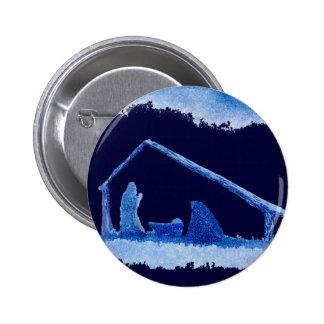 Escena azul de la natividad de la silueta pins