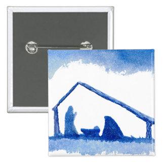 Escena azul de la natividad de la silueta pin