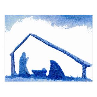 Escena azul de la natividad de la silueta postal