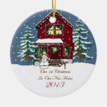 Escena casera Nevado de 2013 nueva navidad Ornamento De Navidad