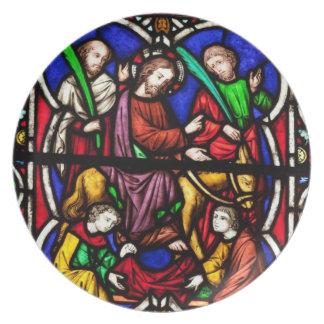 Escena coloreada multi de la biblia platos para fiestas