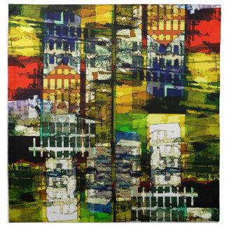 Escena colorida de la ciudad servilletas imprimidas