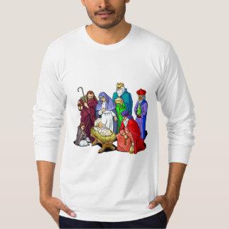 Escena colorida de la natividad del navidad camisas