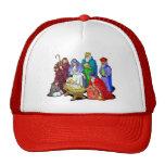 Escena colorida de la natividad del navidad gorra