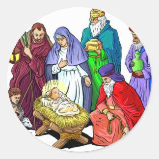 Escena colorida de la natividad del navidad pegatina redonda