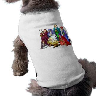 Escena colorida de la natividad del navidad playera sin mangas para perro