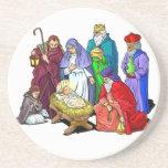 Escena colorida de la natividad del navidad posavasos personalizados