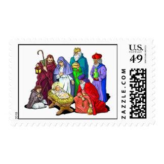 Escena colorida de la natividad del navidad sello postal