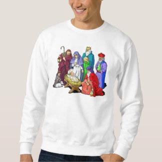 Escena colorida de la natividad del navidad sudadera