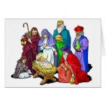 Escena colorida de la natividad del navidad tarjetón