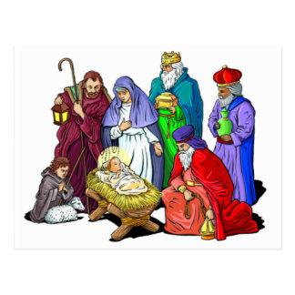 Escena colorida de la natividad del navidad postales