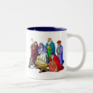 Escena colorida de la natividad del navidad taza dos tonos