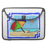 Escena colorida de la playa fundas para macbook pro