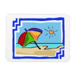 Escena colorida de la playa iman de vinilo