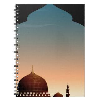 Escena con la mezquita en el crepúsculo cuaderno