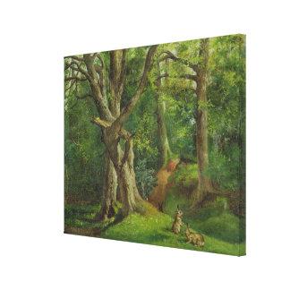 Escena con los conejos, 1862 del arbolado (aceite  impresiones de lienzo