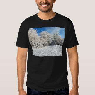 Escena congelada nieve del bosque camisas