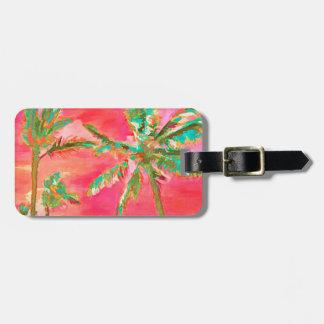Escena/coral hawaianos de la playa del vintage de etiquetas de equipaje