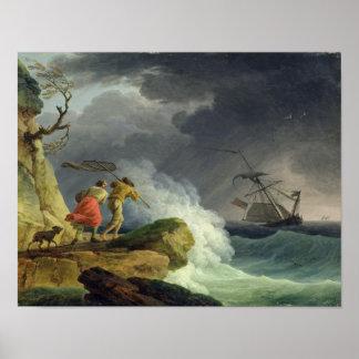 Escena costera en una tormenta 1782 posters