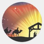 Escena cristiana de la natividad del navidad etiquetas