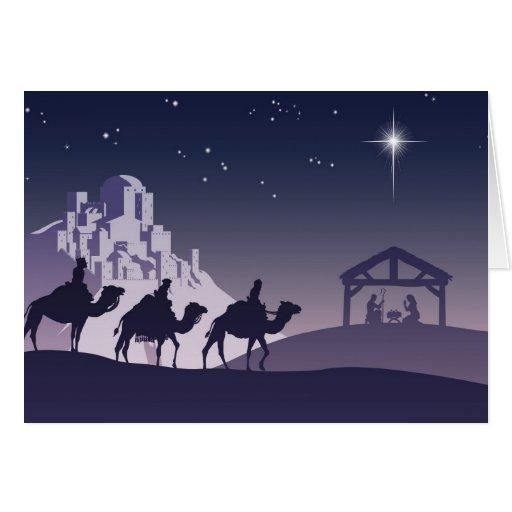 Escena cristiana de la natividad del navidad tarjeta de felicitación