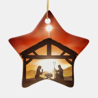 Escena cristiana del navidad de la natividad adorno para reyes