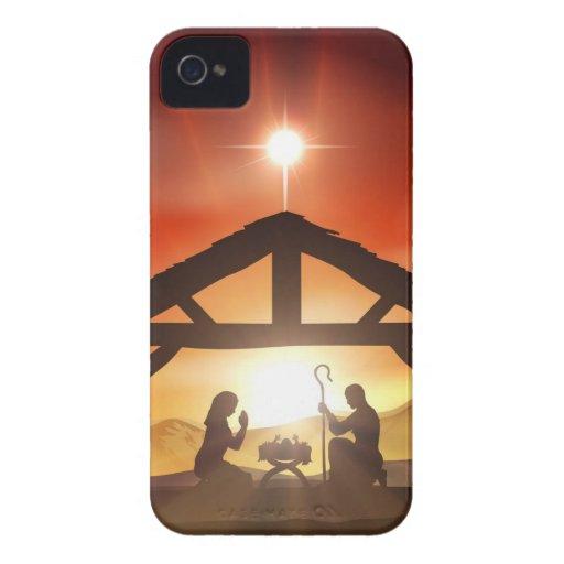 Escena cristiana del navidad de la natividad iPhone 4 Case-Mate cobertura