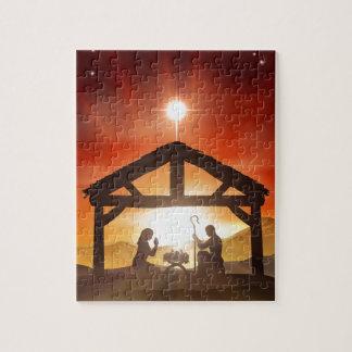 Escena cristiana del navidad de la natividad puzzle con fotos