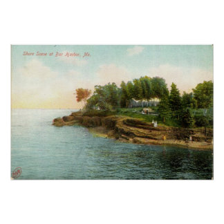 Escena de 1909 orillas en el puerto de la barra, M Póster