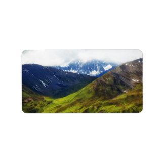Escena de Alaska de las montañas Etiquetas De Dirección