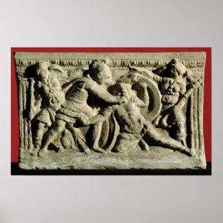 Escena de batalla de una urna cineraria, Etruscan Poster