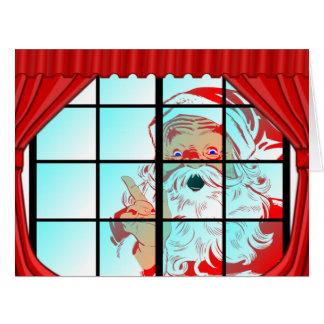 Escena de gran tamaño de la ventana de Santa del Tarjeta De Felicitación Grande