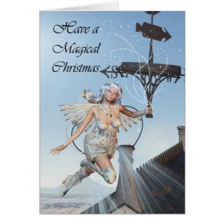 Escena de hadas del navidad, paleta de tiempo que tarjeta de felicitación
