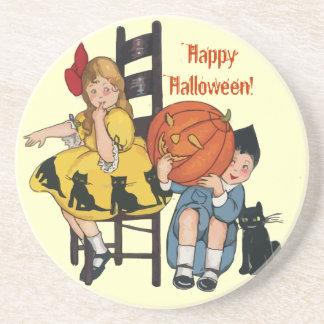 Escena de Halloween del vintage Posavasos De Arenisca