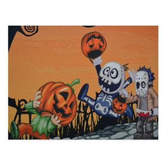 Escena de Halloween del vintage Postal