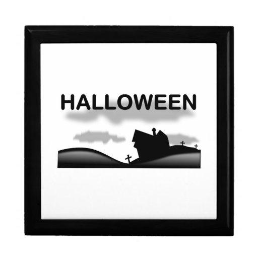 Escena de Halloween Joyero Cuadrado Grande