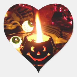 Escena de Halloween Pegatina En Forma De Corazón