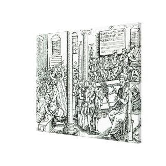Escena de la aula en los tiempos de Tudor Impresión En Lienzo