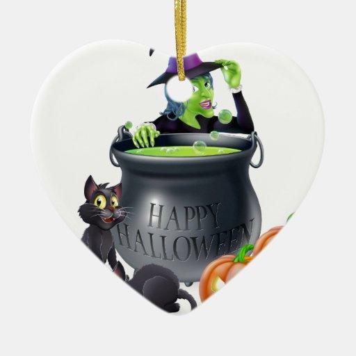Escena de la bruja del dibujo animado de Halloween Ornamento De Navidad