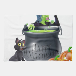 Escena de la bruja del dibujo animado de Halloween Toallas