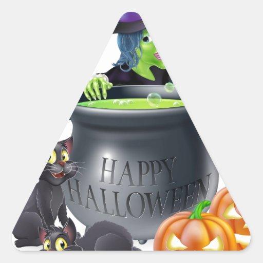 Escena de la bruja del dibujo animado de Halloween Pegatina Trianguladas Personalizadas