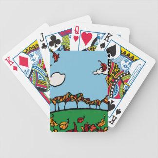 Escena de la caída baraja cartas de poker