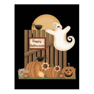 Escena de la caída del feliz Halloween Tarjetas Postales