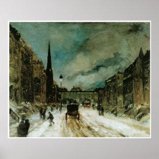 Escena de la calle con la nieve (57.o St. NYC) Póster