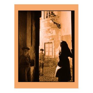 Escena de la calle de la foto del vintage en tarjetas postales