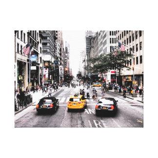 Escena de la calle de los taxis de Nueva York Impresión En Lienzo Estirada