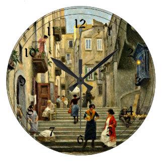 Escena de la calle de Nápoles - pintura de Paul G. Reloj Redondo Grande